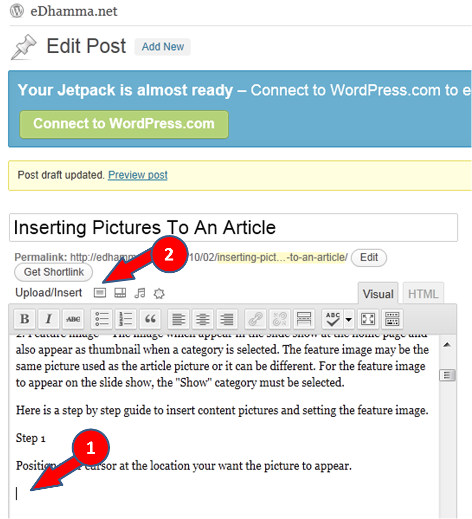 Inserting Pictures To An Article