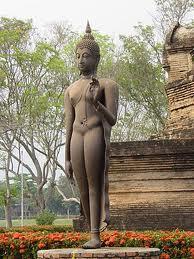 Walking Buddha with Abhaya mudra